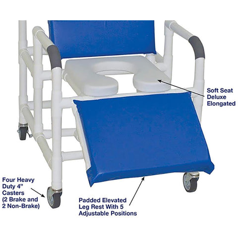 MJM International: Bariatric Reclining Shower Chair With Soft Seat Deluxe Elongated - 193-24-SSDE - Name of Parts