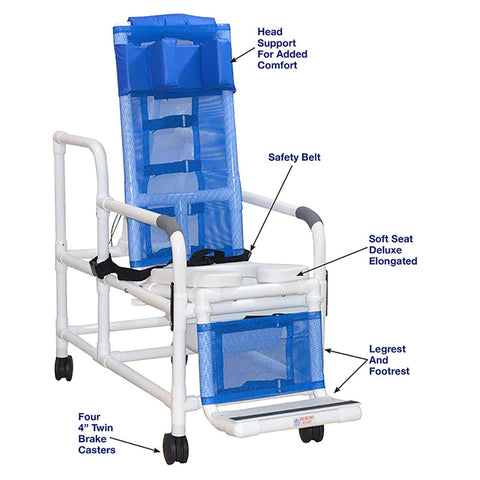 MJM International: Tilt Shower/Commode Chair With Head Bolster and Square Pail- 193-TIS-HB-SQ-PAIL - Parts Overview
