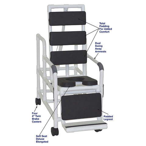 MJM International: Tilt Shower/Commode Chair With Soft Seat Deluxe Elongated and Total Padding - Black - 193-TIS-TP-BLK - Parts Overview