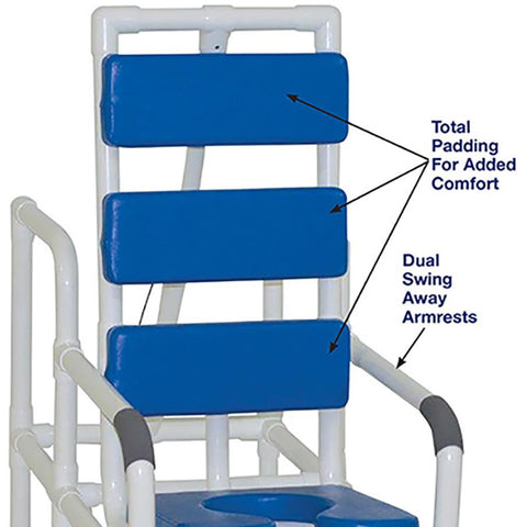 MJM International: Tilt Shower/Commode Chair With Soft Seat Deluxe Elongated and Total Padding - Blue - 193-TIS-TP-BL