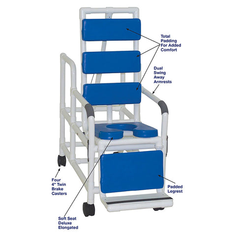 MJM International: Tilt Shower/Commode Chair With Soft Seat Deluxe Elongated and Total Padding - Blue - 193-TIS-TP-BL - Parts Overview