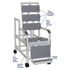 MJM International: Tilt Shower/Commode Chair With Soft Seat Deluxe Elongated and Total Padding - Grey - 193-TIS-TP-GRY - Parts Overview