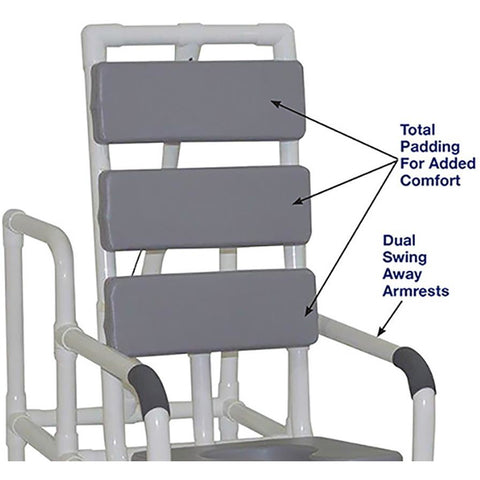 MJM International: Tilt Shower/Commode Chair With Soft Seat Deluxe Elongated and Total Padding - Grey - 193-TIS-TP-GRY - Back Seat