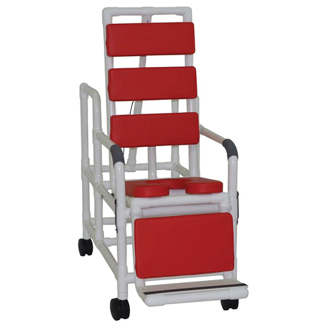 MJM International: Tilt Shower/Commode Chair With Soft Seat Deluxe Elongated and Total Padding - Red - 193-TIS-TP-RD - Actual Image