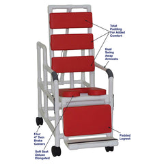 MJM International: Tilt Shower/Commode Chair With Soft Seat Deluxe Elongated and Total Padding - Red - 193-TIS-TP-RD - Parts Overview