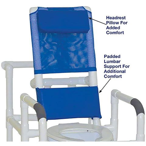 MJM International: Reclining Shower Chair With Squre Pail - 194-SQ-PAIL - Back Seat