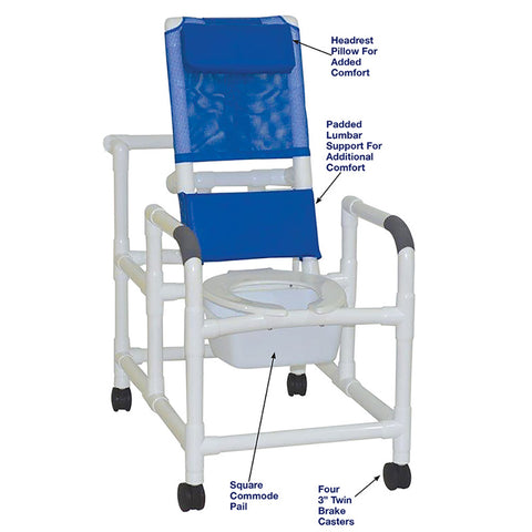 MJM International: Reclining Shower Chair With Squre Pail - 194-SQ-PAIL - Parts Overview