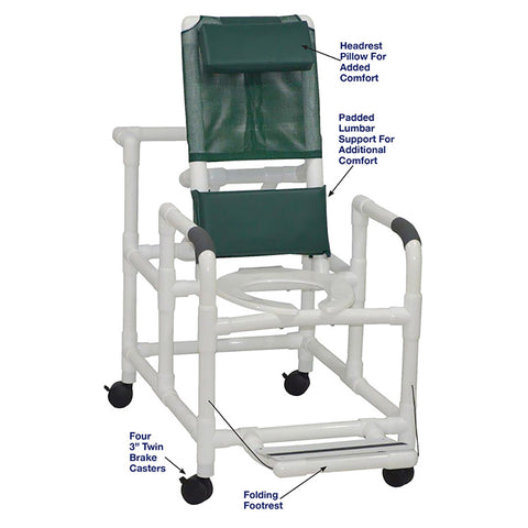 MJM International: Reclining Shower Chair With Folding Footrest - 195 - Parts Overview