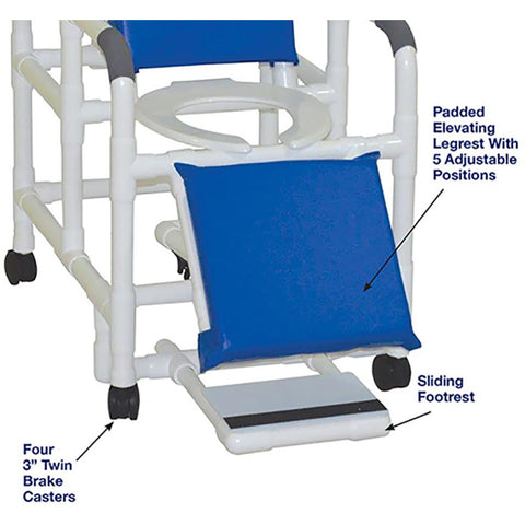 MJM International: Reclining Shower Chair With Sliding Footrest - 196 - Footrest