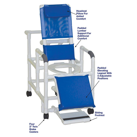 MJM International: Reclining Shower Chair With Sliding Footrest - 196 - Parts Overview