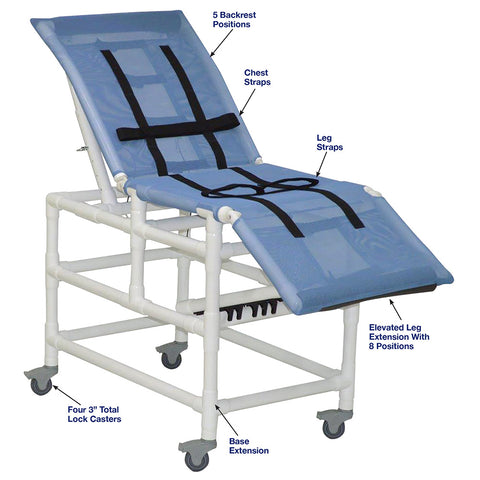 MJM International: Multi-Positioning X-Large Bathing Chair With Total Lock Casters - 197-XL-3TL-32 - Parts Overview