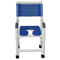 "FEI: MJM International, BLUE Deluxe Seat Shower Chair 18"" With 3"" Twin Casters - 20-4234"