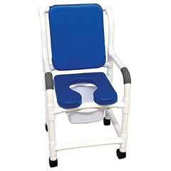 "FEI: MJM International, BLUE Deluxe Shower Chair 18"" With 3"" Twin Casters - Cushioned Padded - 20-4235"