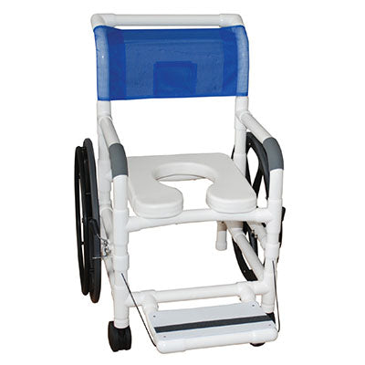 "FEI: MJM International, AQUATIC/REHAB Shower Transport Chair 18"" With 24"" Rear Wheels - Footrest - 20-4244"