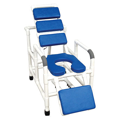 FEI: MJM International, Reclining TOTAL Blue Padding Shower Chair With Elevated Leg Extension - 20-4246