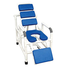 "FEI: MJM International, Tilt ""n"" Space Shower Chair - TOTAL PADDING BLUE - Buckle Safety Belt - Double Drop Arms - 20-4248"