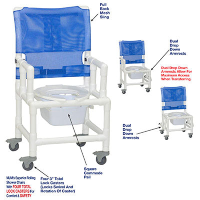 FEI: MJM International, Shower Chair W/Dual Drop Down Armrests, Square Pail - 20-4270