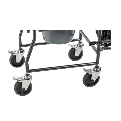 Drive Medical: Upholstered Drop Arm Wheeled Commode - 11120SV-1F - Tires View