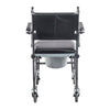 Image of Drive Medical: Upholstered Drop Arm Wheeled Commode - 11120SV-1F - Back View