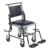 Image of Drive Medical: Upholstered Drop Arm Wheeled Commode - 11120SV-1F - Drop Arm View