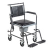 Drive Medical: Upholstered Drop Arm Wheeled Commode - 11120SV-1F - Drop Arm View