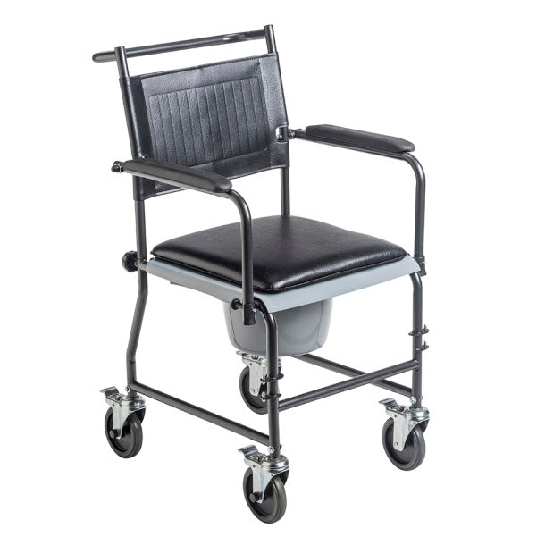 Drive Medical: Upholstered Drop Arm Wheeled Commode - 11120SV-1F