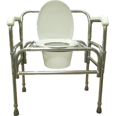 Convaquip: Fixed Arm (Aluminum), Bedside Commode - Height Adjustable - 724A