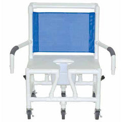 Convaquip: Bariatric Shower Chair with Dual Drop Arms - Flat Seat - S126-5BAR-DDA-SQ-PAIL