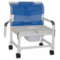 Convaquip: Bariatric Shower Chair with Dual Drop Arms - Soft Seat - S126-5BAR-SQ-PAIL-DDA-SSDE
