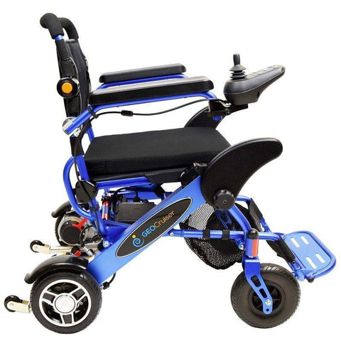 Geocruiser (Pathway Mobility): Geo Cruiser DX Lightweight Foldable Power Chair (Blue) - GC-216B-01 - Side View