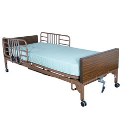 Compass Health: ProBasics Semi-Electric Bed Package with Half Rails & Fiber Core Mattress - PBSM-HRPKG - Actual Image