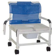 Convaquip: Bariatric Shower Chair with Pail and Drop arms - 126-4-NB-FSSS-DDA