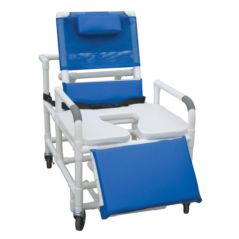 Convaquip: Bariatric Reclining Shower Commode Chair with Soft Seat - 196-30-BAR-SSDE
