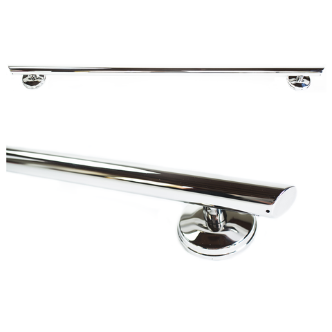 Grabcessories: 36 inch Straight Decorative Grab Bar w/ Angled Ends, Rubber Grips & Free Anchors (2) - N36000 Polished Chrome - Side View