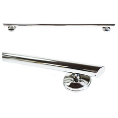 Grabcessories: 48 inch Straight Decorative Grab Bar w/ Grips, Angled End Grips / Free Anchors - N48000 Polished Chrome - Actual Image