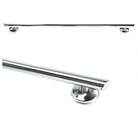 Grabcessories: 36 inch Straight Decorative Grab Bar w/ Angled Ends, Rubber Grips & Free Anchors (2) - N36000 - Brushed Nickel Color