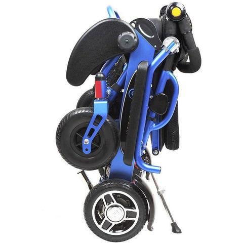 Geocruiser (Pathway Mobility): Geo Cruiser DX Lightweight Foldable Power Chair (Blue) - GC-216B-01 - Folded Standing View