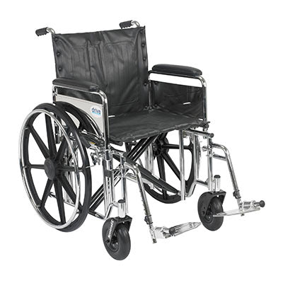"FEI: Sentra Extra Heavy Duty Wheelchair, Detachable Desk Arms, Swing away Footrests, 24"" Seat - 43-1915 - Actual Image"