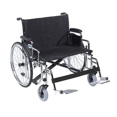 "FEI: Sentra EC Heavy Duty Extra Wide Wheelchair, Detachable Desk Arms, Swing away Footrests, 28"" Seat - 43-1927 - Actual Image"