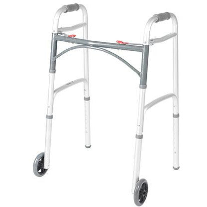 "FEI: Drive, Deluxe Two Button Folding Walker with 5"" Wheels, Adult - 43-2106"
