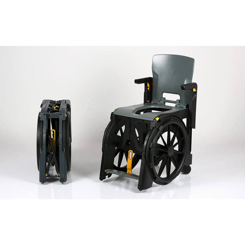 Seatara: Wheelable Travelling Commode And Shower Chair - Actual Image Folding and Unfolding View - ZMR300100