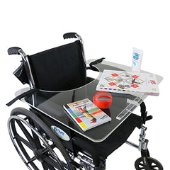 FEI: Wheelchair tray clear acrylic with rim and straps - 50-1302 - Adjust With Wheelchair
