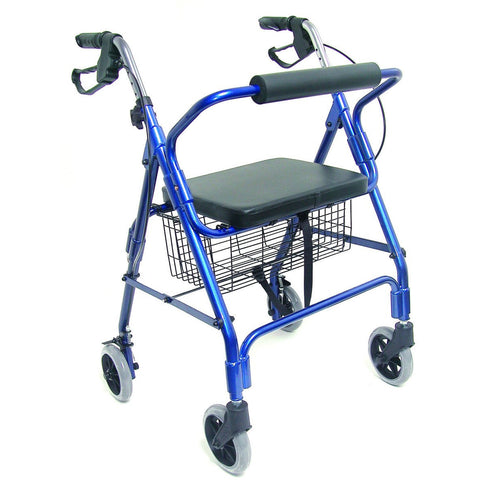 Healthsmart: Ultra Lightweight Folding Aluminum Rollator Walker - 501-1012-2100HS - Side Vie