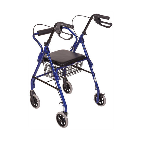 Healthsmart: Ultra Lightweight Folding Aluminum Rollator Walker - 501-1012-2100HS - Brake