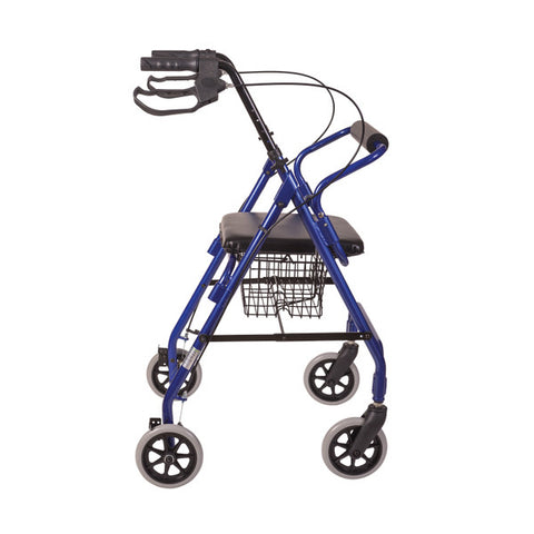 Healthsmart: Ultra Lightweight Folding Aluminum Rollator Walker - 501-1012-2100HS - Side View