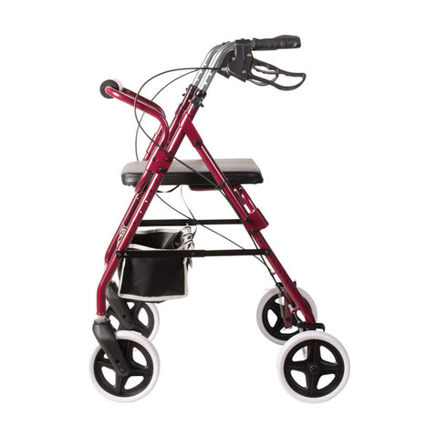 Healthsmart: DMI Lightweight Adjustable Seat Aluminium Rollator Walker - 501-1048-0700 - Side View
