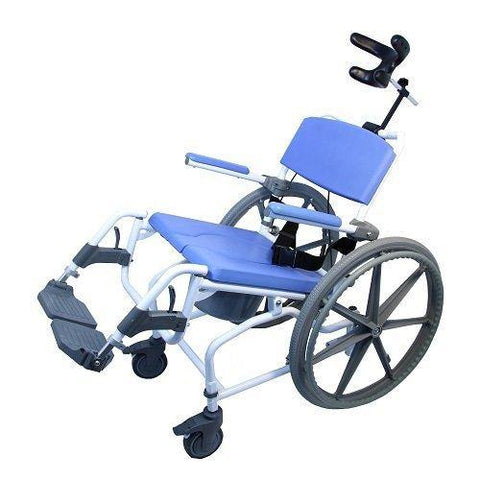 "Healthline Medical: Aluminum Tilt Shower Commode Chair with 24"" Wheels"