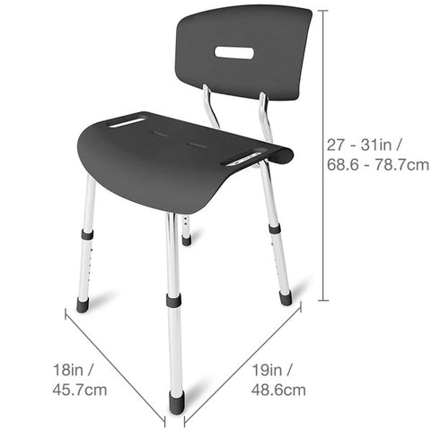 Healthsmart: Dmi Heavy-Duty Euro-Style Bath Seat – Shower Chair, Dark Gray - 522-5046-0300 - Dimensions Overview