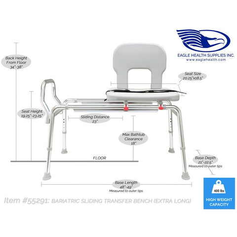 Eagle Health: Bariatric Sliding Transfer Bench (Extra Long) a-55291