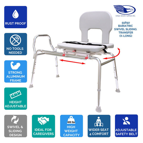 Eagle Health: Bariatric Swivel Sliding Transfer Bench (Extra Long) - 55692